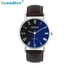Reloj 2017 New Bestselling Males Ladies Blue Ray Glass Quartz Analog Wrist Watch Watches Dropshipping 17feb8