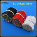 1000pcs/lot length: 100mm UL3239 AWG26# Silicone Wire /High Temperature Cable Black/Red/White color selection