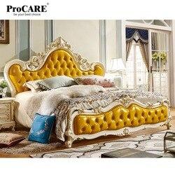 Luksusowe europejskie i amerykańskie skórzane łóżko księżniczki z litego drewna  łóżko ślubne 1.8 metrów  główna sypialnia