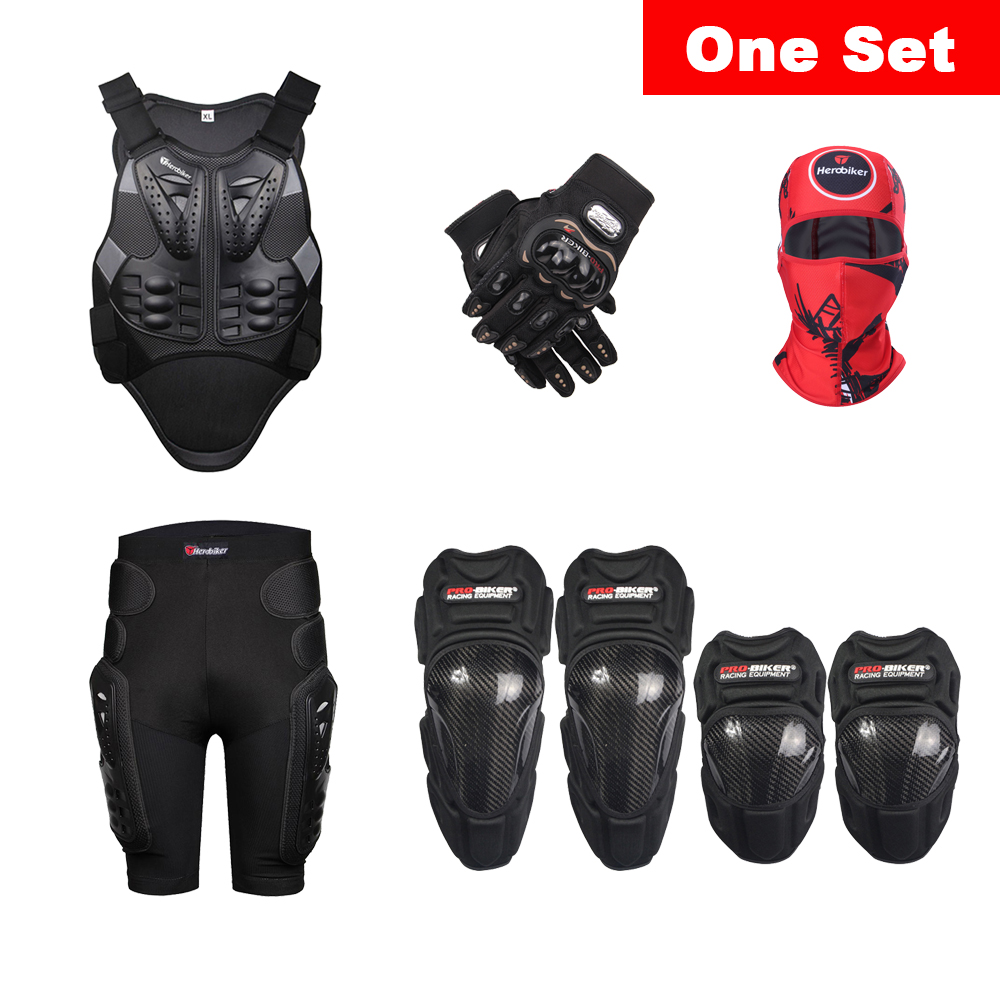 Veste armure Moto équipement de protection Moto Armor Motocross Racing veste de protection corporelle + short de hanche + genouillère + coude + gants