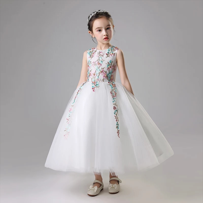 Summer New Luxury Children Girl Flowers Dresses Pageant Wedding Party Formal Occassion Bridesmaid Wedding Kids Tulle Long Dress new wedding party formal flowers girl dress baby pageant dresses birthday cummunion toddler kids tulle custom dress hb2059
