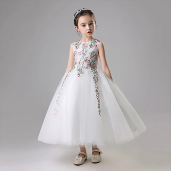 Summer New Luxury Children Girl Flowers Dresses Pageant Wedding Party Formal Occassion Bridesmaid Wedding Kids Tulle Long Dress
