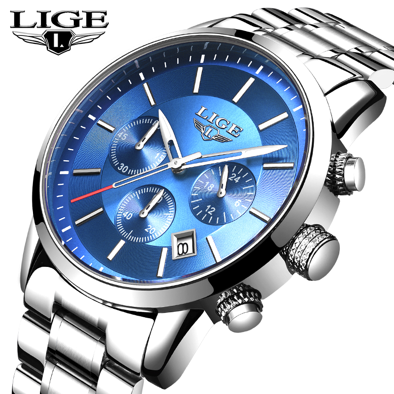 LIGE Mens Watches Top Brand Luxury Business Stainless Steel Quartz Clock Watches Chronograph Waterproof Watch Man Relogio MasculLIGE Mens Watches Top Brand Luxury Business Stainless Steel Quartz Clock Watches Chronograph Waterproof Watch Man Relogio Mascul