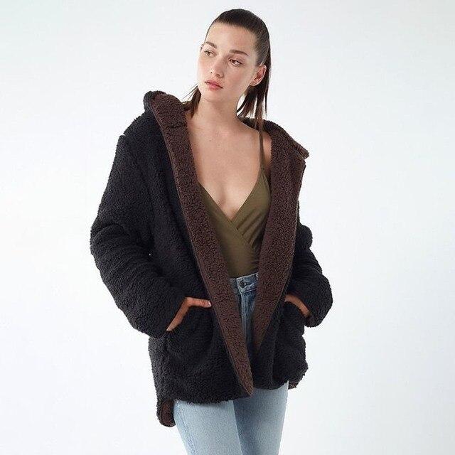 51b69ade70a Sisjuly Loose Reversible Faux Fur Fleece Jacket Coat Women Double Face  Hooded Zipper Black Burgundy Blue Brown Winter Outwear