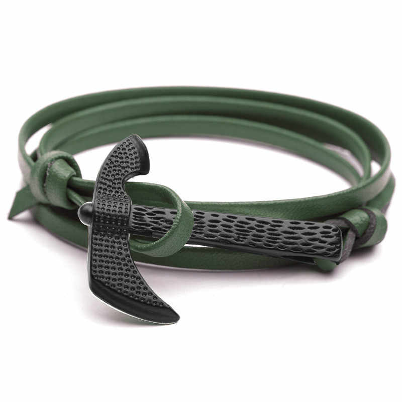 Hot Sale Fashion Axe Head Anchor Cuff Bracelets Men Survival Rope Chain Paracord Bracelet Male Wrap Metal Sport Hooks