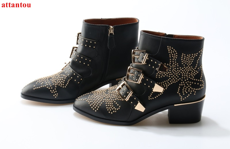 Spring autumn fashion woman ankle boots studed rivets decor thick heel short boots street style party dress shoes female shoes