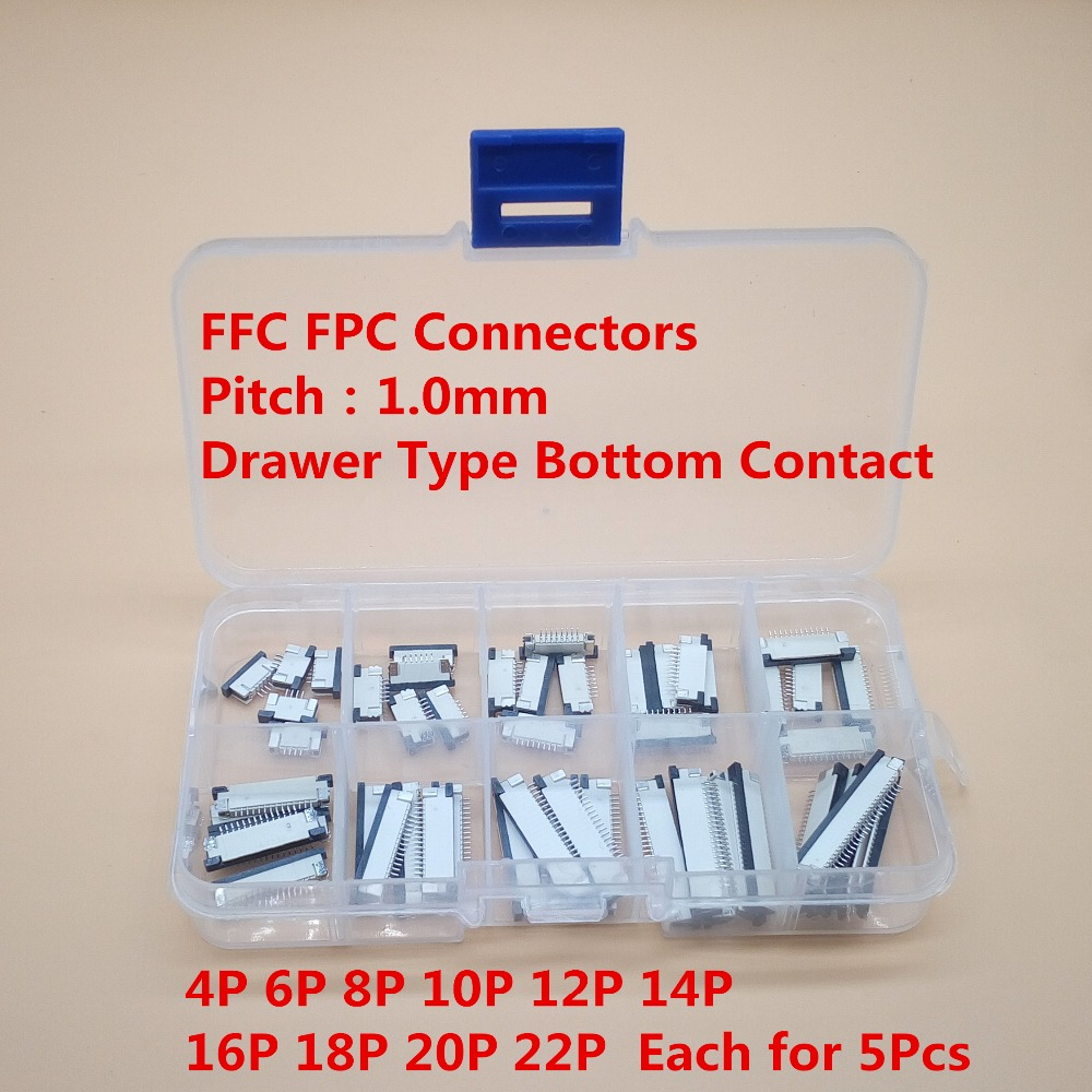 50pcs FFC FPC connector 1.0mm 4/6/8/10/12/14/16/18/20/22 Pin Drawer Type Bottom Contact Flat Cable Connector Socket Sets 10 pcs fpc ffc 1mm pitch 22 pin drawer type ribbon flat connector bottom contact