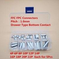 FPC коннектор FFC  50 шт.  1 0 мм  4/6/8/10/12/14/16/20/22 Pin  тип выдвижного ящика  плоский кабель  комплект коннекторов