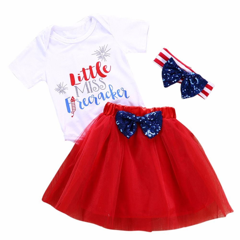 Puseky 0-24M 3pcsset Baby Girl Little Miss Shirt Top+Mesh Layer Skirt+Striped Sequin Bowknot Headband Infant Newborn Clothes