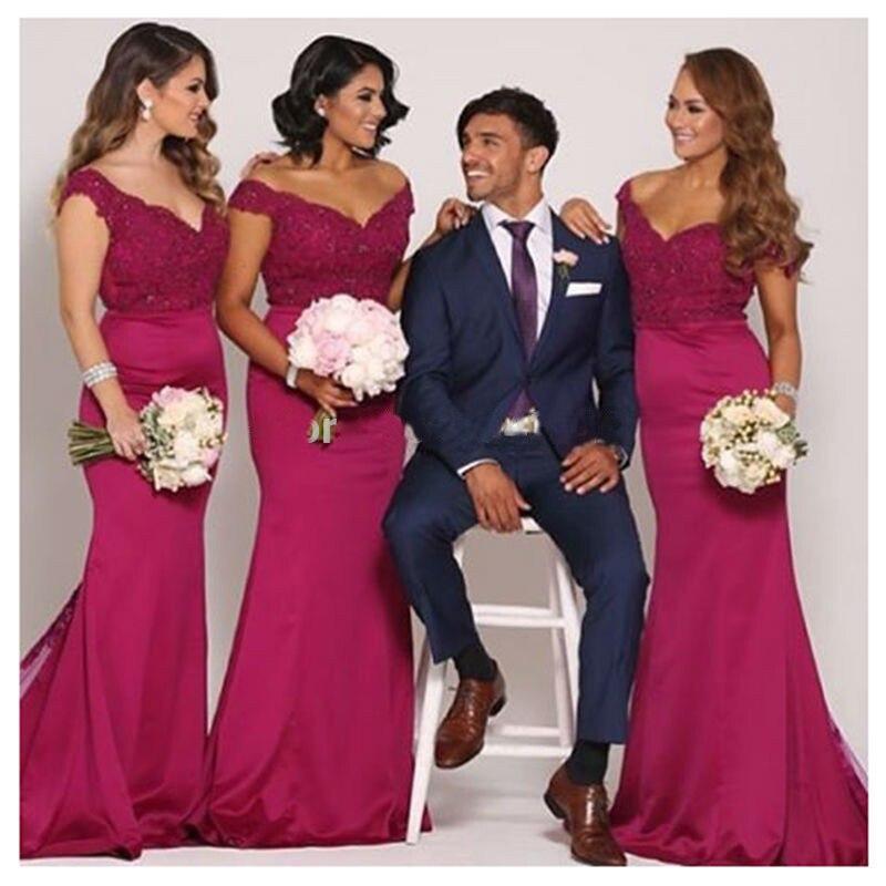 Sexy Lace Sheer Long   Bridesmaid     Dress   for Women Mermaid   Bridesmaid     Dresses   vestiti damigella donna Red   Dress   Maid of Honor   Dress