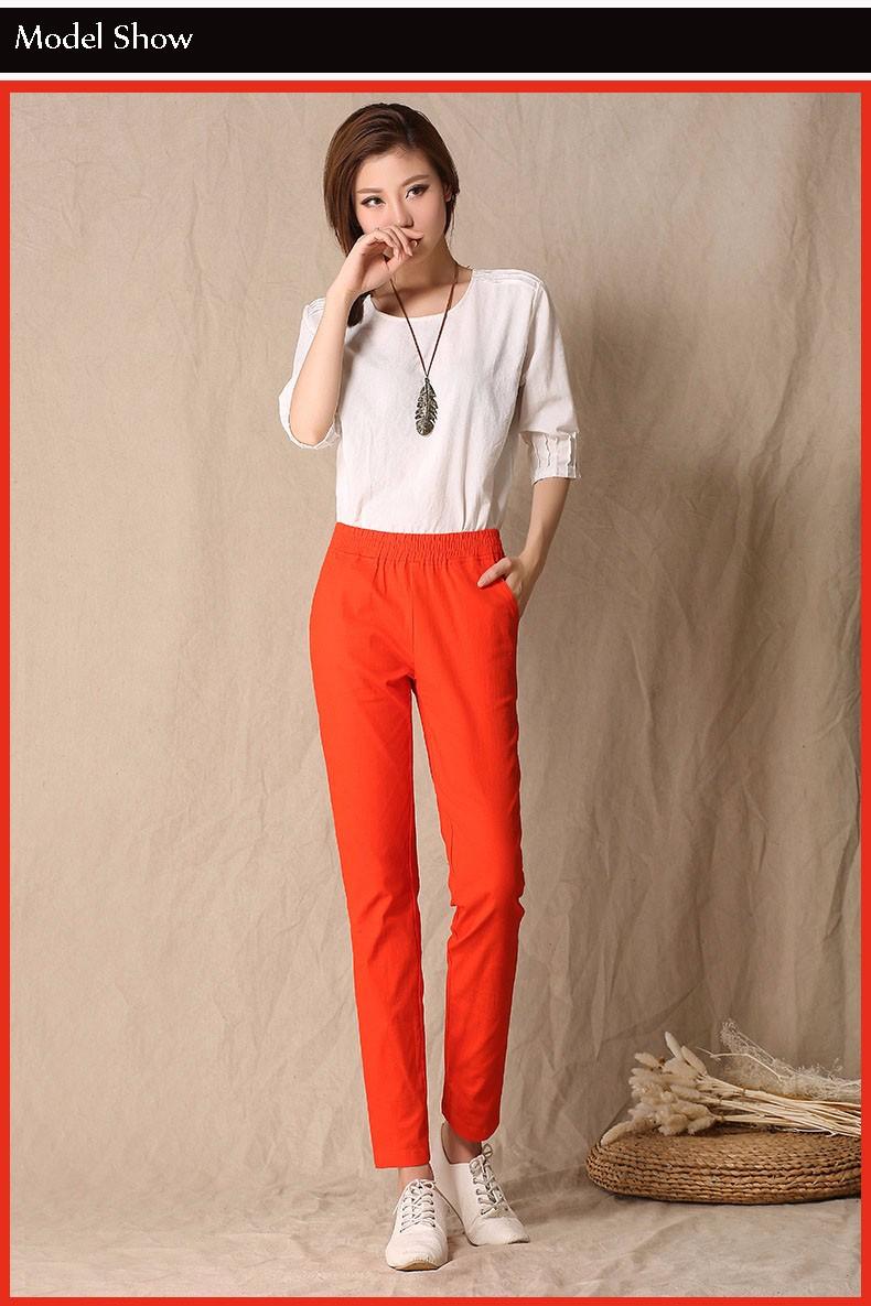 Women Ankle Length linen pants casual pencil pants sport pants Slim solid spring summer autumn trousers for women plus size A375 b