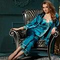 XIFENNI Marca Mulheres Conjuntos de Pijama Pijama De Cetim De Seda Bordado Com Decote Em V Três-Pedaço Imitação de Seda Sleepwear Pijama Feminino 8308