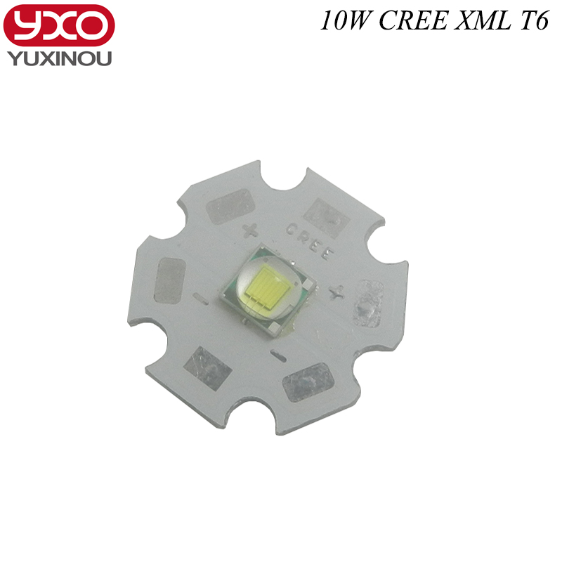 10 PCS CREE XML XM-L T6 LED T6 U2 10W WHITE High Power LED Chip Emitter with 12mm 14mm 16mm 20mm PCB for DIY