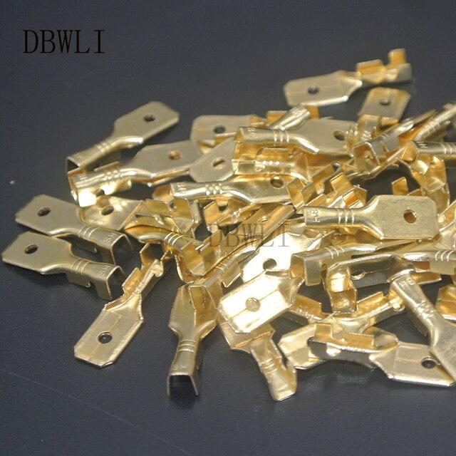 50 sztuk 6.3mm 4.8mm 2.8mm męski nieizolowane złącze zaciskowe łopatki zacisk blok