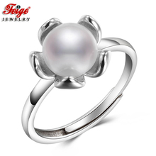 цены Fashion Flower Natural Pearl Ring for Women Anniversary Jewelry Gifts 7-8MM White Freshwater Pearls Fine Jewelry Wholesale FEIGE