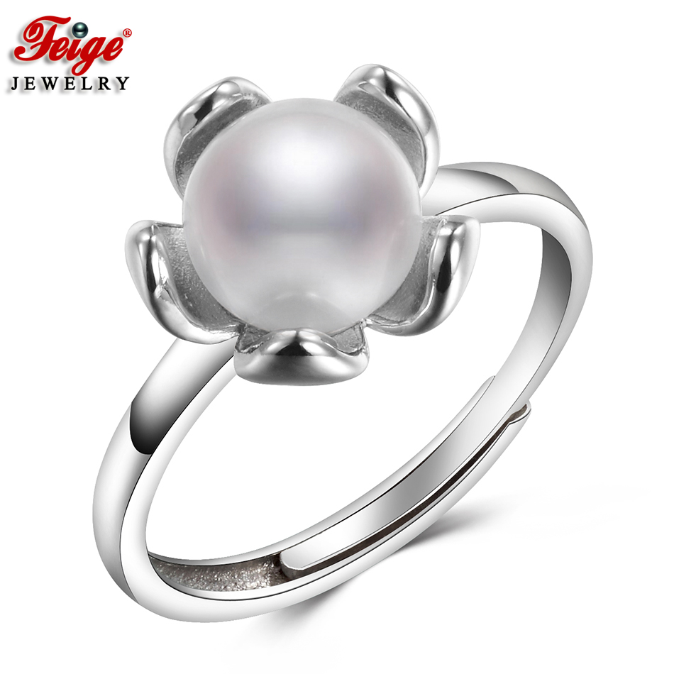 Vogue Flower Pure Pearl Ring For Ladies Anniversary Jewellery Items 7-8Mm White Freshwater Pearls Positive Jewellery Wholesale Feige