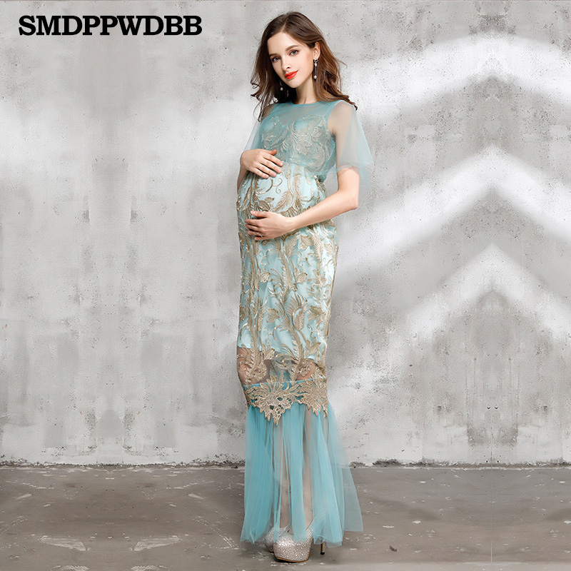SMDPPWDBB Maternity Photography Props for Pregnancy Gown Clothes Photo Shoot Dress Maternity Dress Hand embroidery Women Dress