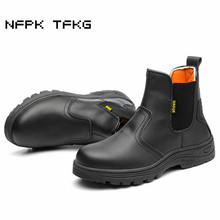 large size 45 46 men fashion black steel toe cap work safety shoes genuine leather security ankle boots building site worker