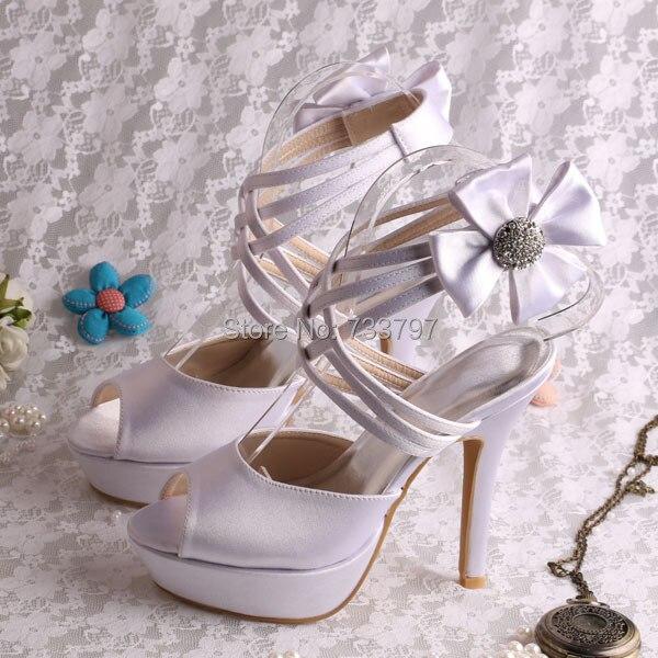 Custom Handmade White Shoes Women High Heels Wedding Shoes Sweet Flower Party Sandals