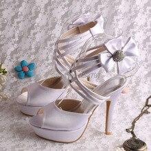Пользовательские Ручной Белые Туфли Женщины На Высоких Каблуках Свадебные Туфли Сладкий Цветок Партийные Сандалии