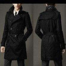 Мужской Тренч, весенне-осеннее деловое пальто, Повседневный хлопковый однотонный Тренч, модное мужское тонкое двубортное пальто, британский длинный Тренч