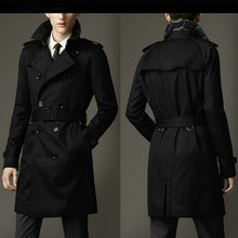 Mens Trench Spring Autumn Business Coat Casual Cotton Solid Fashion Slim Double Breasted British long