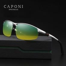 CAPONI Aluminum Magnesium Men Sunglasses Polarized Day And Night Glass Driving Sun Glasses Goggles Night Vision Eyewear RY3121