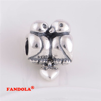 DIY Beads Fits Pandora Bracelet Love Birds Screw Thread Charms Bead Authentic 925 Sterling Silver Jewelry LW176