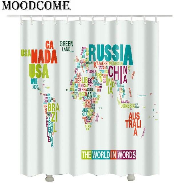 3d World Map Bathroom Curtain 2017 Beach Polyester Shower Curtain