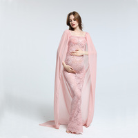 Chiffon with stretch lace one size dress maternity dress photograpy cloak tube top straight gown maternity dress Baby shower