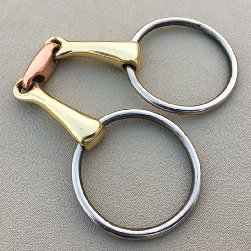 Stainless Steel Ring Snaffle Bit  14.5cm Brass Mouth Horse Equipment