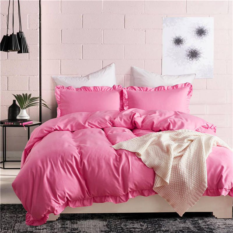 Luxury Blue Pink Solid duvet cover stripe ruffle set US King Queen Twin size 3pcs set