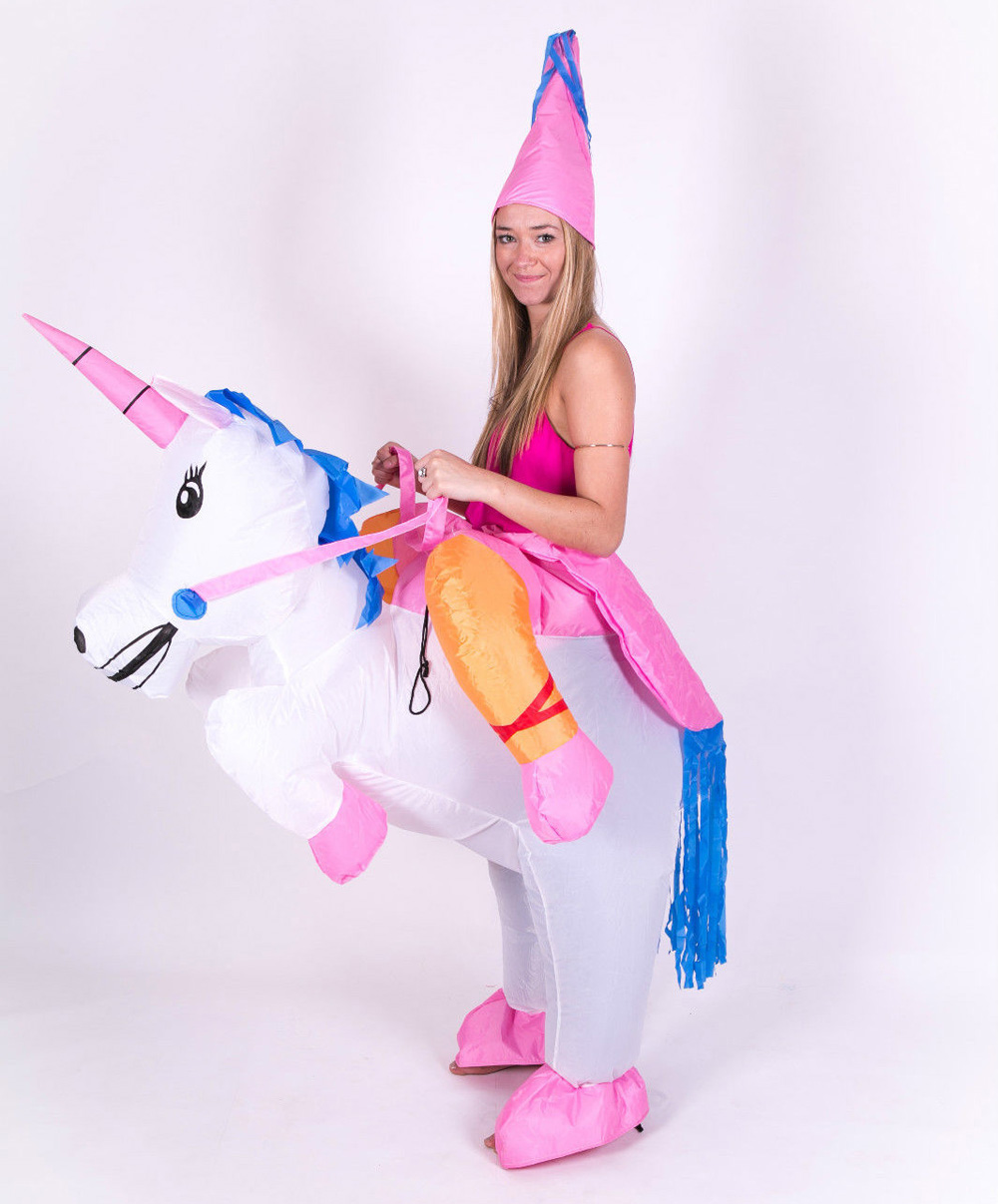 Adult Inflatable Unicorn Animal Fantasy Mythical Blow Up Party Fancy ...