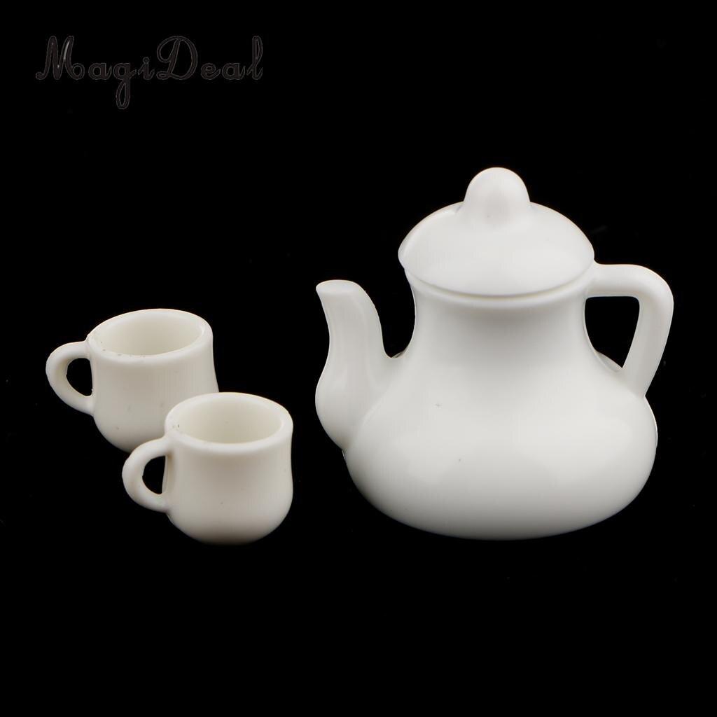 MagiDeal 1Set 1/12 Scale Plastic Dolls House Miniature Coffee Tea Cups Pot for Kitchen Office Livingroom Tableware Children Toys