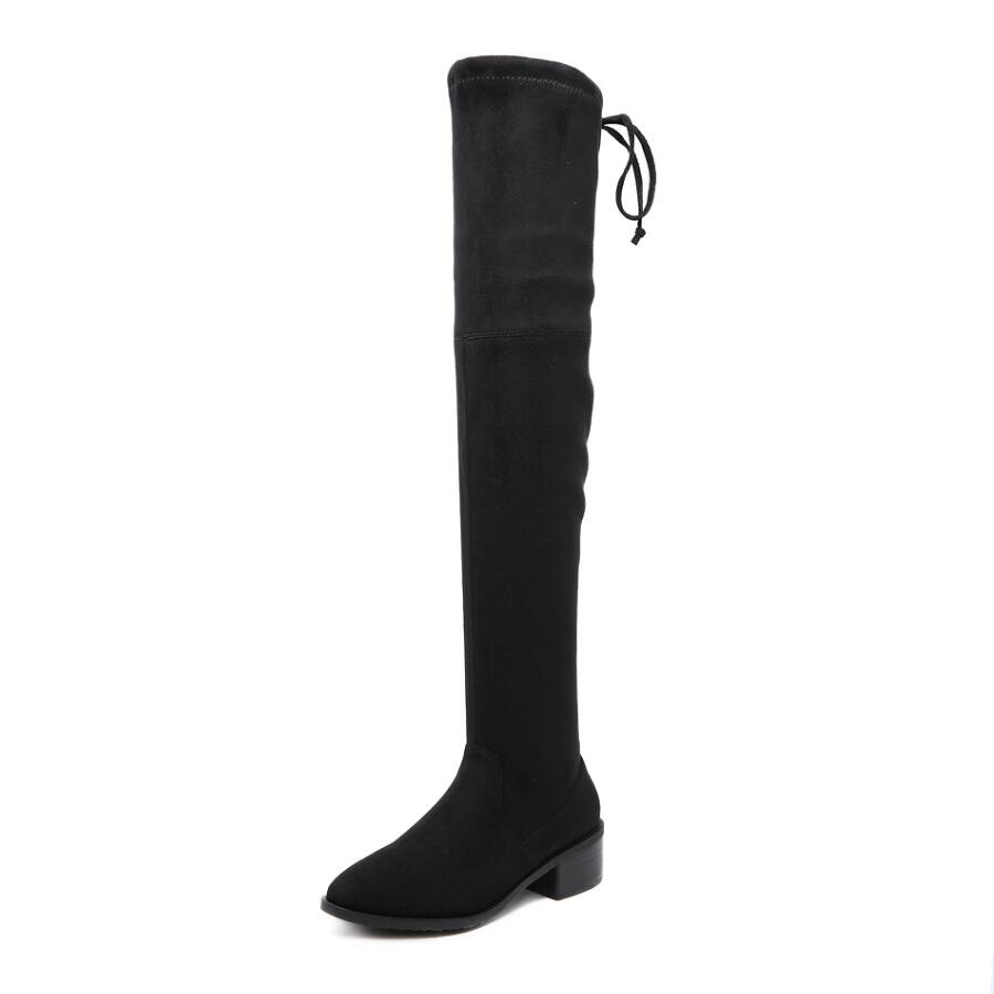 Femmes Femme Black Mi Noir 9 Kaki Automne khaki Concise Hmsz Gris Mode De Rond genou Bottes talon Bout Over Us5 Hiver Sexy the gray Boot YBYZ4Iq