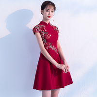 2019 summer plus chinese ladies sexy vintage elegant lace cheongsam qipao short evening party women tang suit dress vestidos
