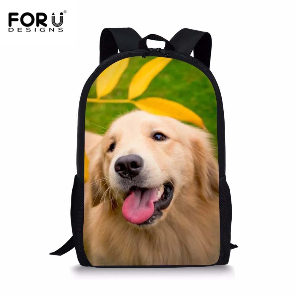 FORUDESIGNS Girls School Bags Golden Retriever Dogs Pattern Satchels Women Backpack Book Bag Daily Soft Rucksack For Kids Boys