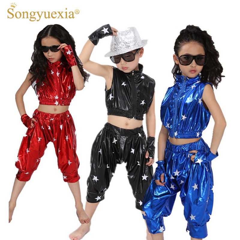2017 Songyuexia retail and wholesale  Unisex Kids Clothing Set Hip Hop Performance Clothing Short Pants Jazz Dance Costumes