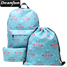 Deanfun 3PCS /set 3D Printed Flamingo Backpack Fashion Casual Schoolbags for Teens Girls(China)