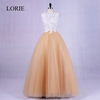 Champagne Evening Party Dresses Long 2018 Robe LORIE Lace Appliques O Neck Floor Length Prom Dress