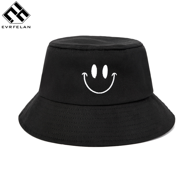 16a716f0b50 Evrfelan Brand Smiley Bucket Hats For Women Outdoor Fishing Wide Brim Hat  Men UV Protection Cap