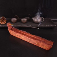 Tibetan Wooden Incense Burners Holder Handmade Carved Rosewood Stick Base Seat Buddha Supplies Home Room Teahouse