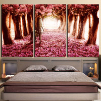 Modular Canvas Pictures Home Decor 3 Pieces Cherry Blossoms Paintings Girl And Dog Prints Posters Living