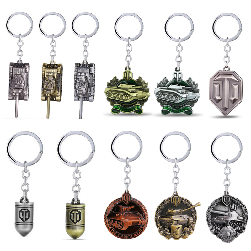 GWTS Game Jewelry World of Tanks Keychain WOT Metal Tank Bullet Key Ring Key Chains Pendant Chaveiro Movie Jewelry For Men image
