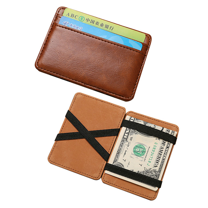 PU Leather Slim Magic Wallet Men's Mini Multifunctional Bifold Short Purse Credit & ID Card Holder Money Belt Cash Case Ba060 fashion solid pu leather credit card holder slim wallet men luxury brand design business card organizer id holder case no zipper