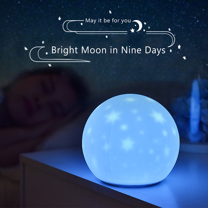 Colorful Moon Silicone LED Night Light Bedroom Creative Dream Bedside Table Projection Lamp Charging Pat Light