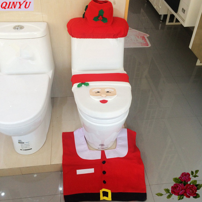 Captivating 4pcs Bathroom Set Santa Toilet Seat Cover Creative Decoration Christmas  Water Tank Cover Xmas Floor Rug