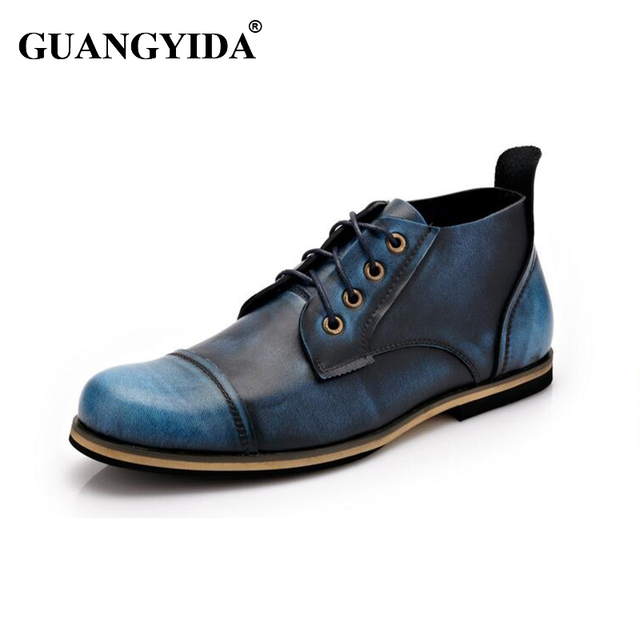 2017 Más El tamaño 38-47 Nuevos Hombres Hechos A Mano de Cuero Genuino Otoño Invierno botas de Los Hombres de Alta Calidad Botas de tobillo martin botas altas de hombres N05