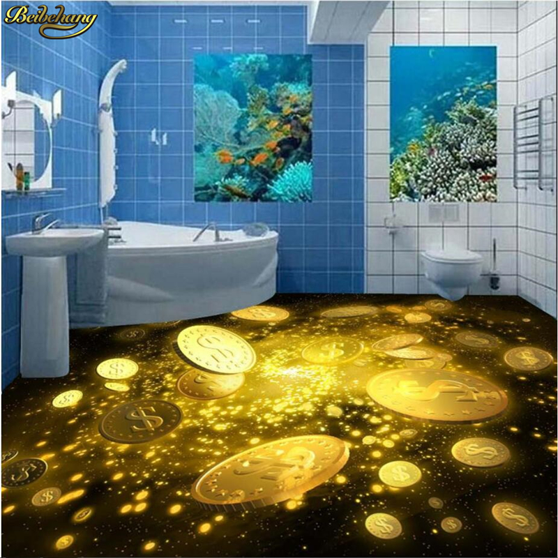 beibehang 3d pvc flooring custom photo bedroom waterproof floor Beautiful gold star painting 3d wall murals wallpaper for walls 3d wallpaper custom 3d flooring painting wallpaper murals nine fish 3d stereograph floor pebbles lotus leaf room photo wallpaper