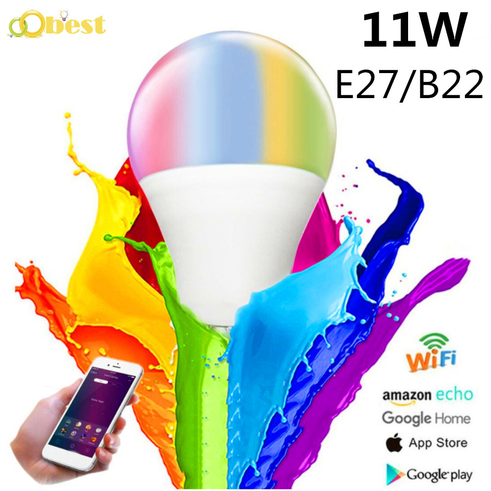 New 11W E27 B22 LED Multicolor RGB Magic Smart Light Bulb Lamp Cellphone Voice WiFi Control Led Spotlight For Alexa Google Home